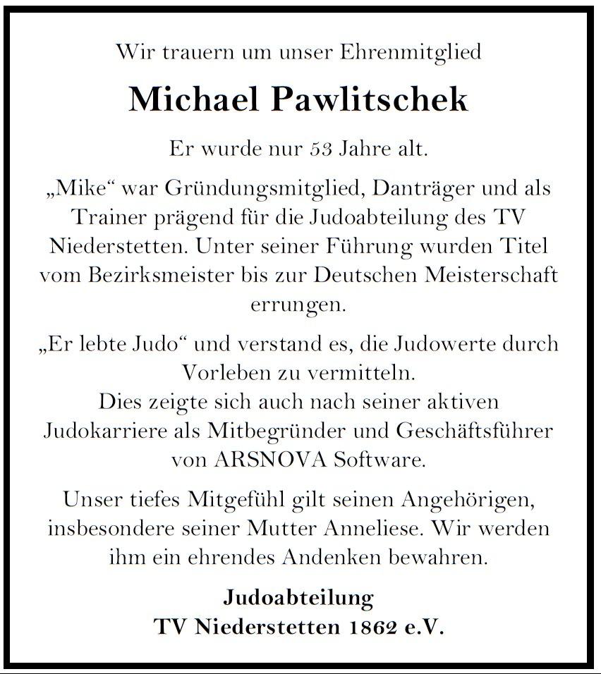 Nachruf Michael Pawlitschek