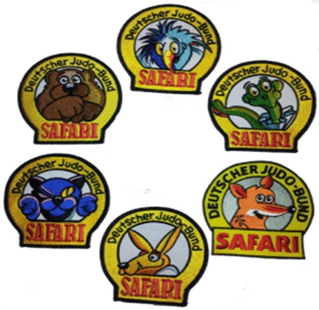 Judosafari Abzeichen analog zu den Judo Gürtelfarben